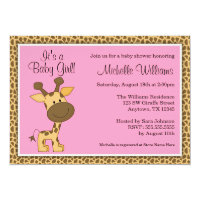 Cute Pink Giraffe Girl Baby Shower Card