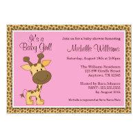 Cute Pink Giraffe Girl Baby Shower Card