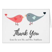 Cute Pink Gray Love Birds Wedding Thank You Card