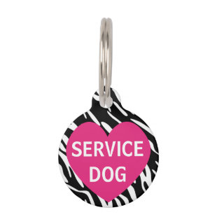 Cute Pink Heart Zebra Print Service Dog Pet Tag