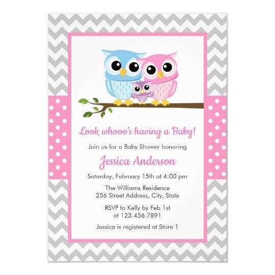Cute Pink Owl Family Gray Chevron Baby Shower Invitation