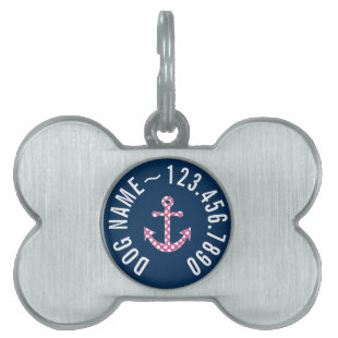 Cute Pink Polka Dot Anchor with Navy Custom Name Pet Tag