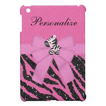Cute Pink Zebra Printed Bow & Glitter iPad Mini Case