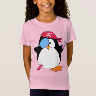 Cute  Pirate Penguin Graphic Pink T-Shirt
