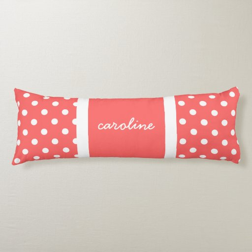 Cute Polka Dots, Rose & White, Add your name Body Pillow