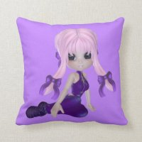 Cute Purple Girl Pillow | Zazzle