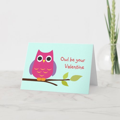Cute purple owl be your valentine adorable holiday card
