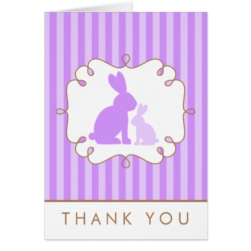 Cute Purple Rabbits Baby Shower Thank You