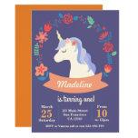❤️ Cute purple unicorn floral birthday invitation