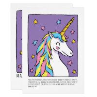 Cute Rainbow Unicorn and Stars Baby Shower Card