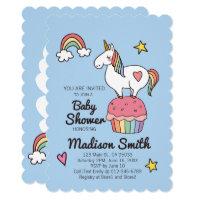 Cute Rainbow Unicorn Stars And Hearts Baby Shower Card