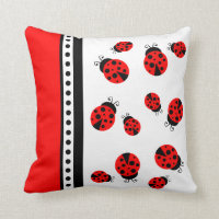 Cute Red Ladybugs Pillow