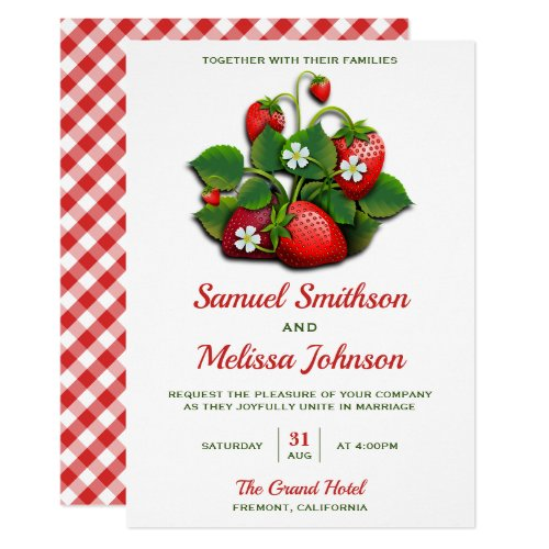 Cute Red Strawberries Bouquet Wedding Invitation
