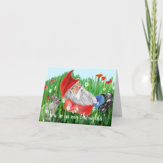 Cute Red White and Blue Digital Painting Gnome Card