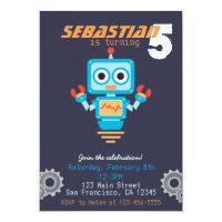 Cute Robot Boys Birthday Party Invitation