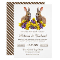Cute Romantic Spring Floral Rabbits Wedding Invite