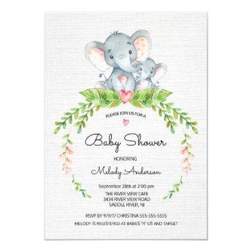 Cute Safari Jungle Elephant Baby Shower Invitation