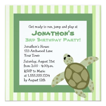 Cute Sea Turtle Birthday Party Invite - Green