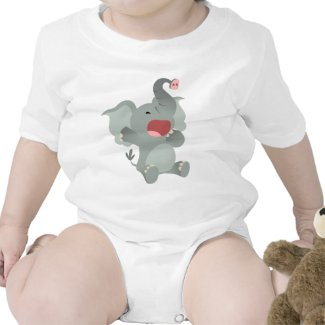Cute Sleepy Cartoon Elephant Baby T-Shirt shirt