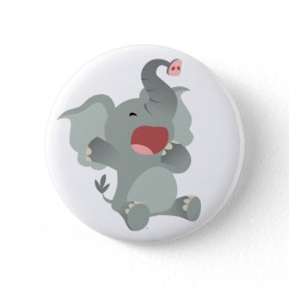 Cute Sleepy Cartoon Elephant Button Badge button