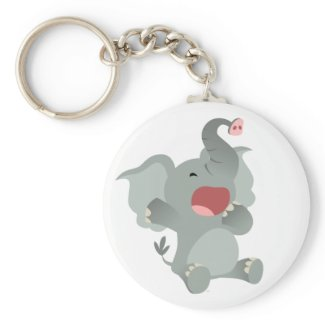 Cute Sleepy Cartoon Elephant Keychain keychain