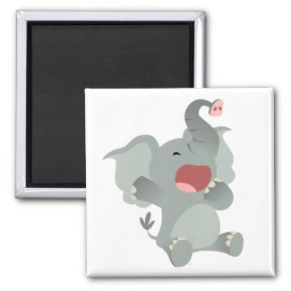 Cute Sleepy Cartoon Elephant Magnet magnet