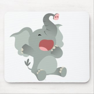 Cute Sleepy Cartoon Elephant Mousepad mousepad
