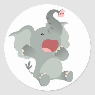 Cute Sleepy Cartoon Elephant Sticker sticker