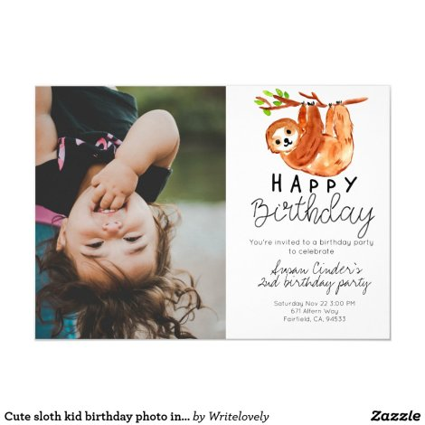 Cute sloth kid birthday photo invitation