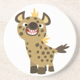 Cute Smiling Cartoon Hyena Coaster