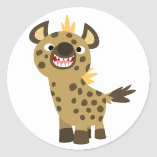 Cute Smiling Cartoon Hyena Sticker