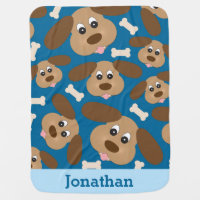 Cute Smiling Dog with Big Ears Personalized Receiving Blanket