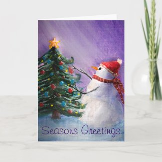 Cute Snowman Decorates Xmas Tree Folk Art Painting
