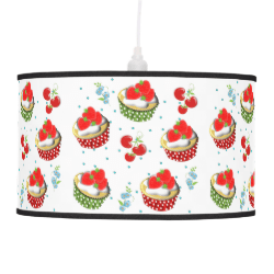 Cute Strawberry and Cream Topped Yummy Cup Cakes Ceiling Lamp