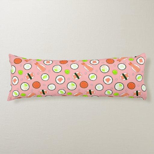 Cute Sushi Pattern Pink Body Pillow