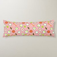 Cute Sushi Pattern Pink Body Pillow | Zazzle