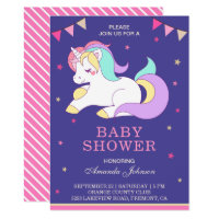 Cute Sweet Adorable Unicorn Baby Shower Invitation