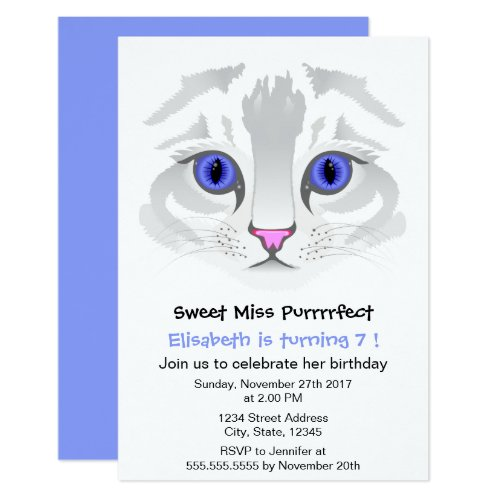 Cute tabby cat cartoon blue girl birthday party invitation
