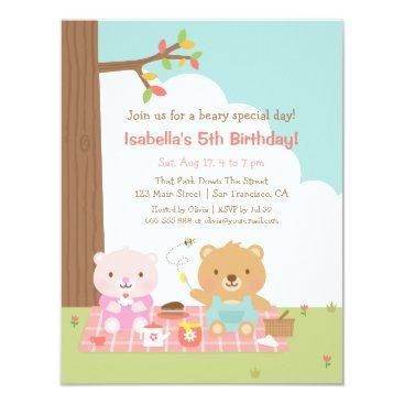 Cute Teddy Bear Picnic Outdoor Kids Birthday Party Invitation