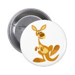 Cute Thumping Cartoon Kangaroo Button Badge