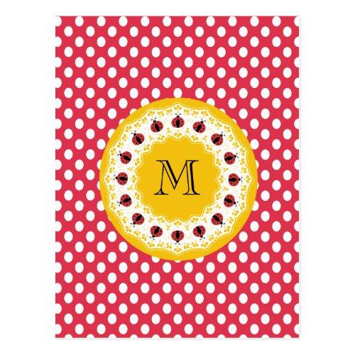 Cute trendy girly chic ladybugs monogram postcard