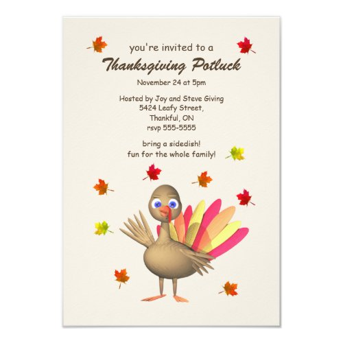Cute Turkey Thanksgiving Potluck Invitation