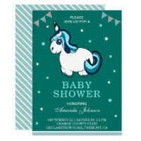 Cute Turquoise Unicorn Baby Shower Invitation
