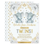 Cute Twins Elephant Baby Shower Alabaster Floral Invitation