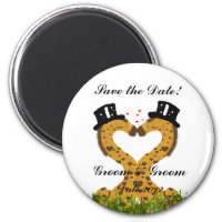 Cute Two Grooms Giraffe Gay Save the Date Magnet