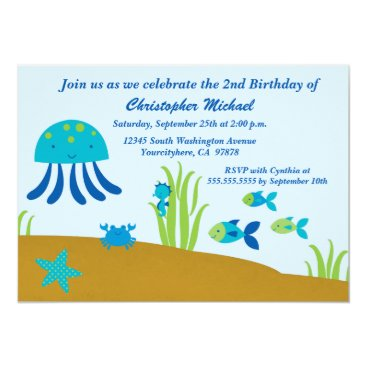 Cute under the sea boy's birthday party invitation