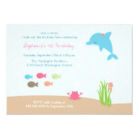 Cute under the Sea girls birthday party invitation