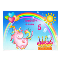 Cute Unicorn and Rainbow Birthday Party Card