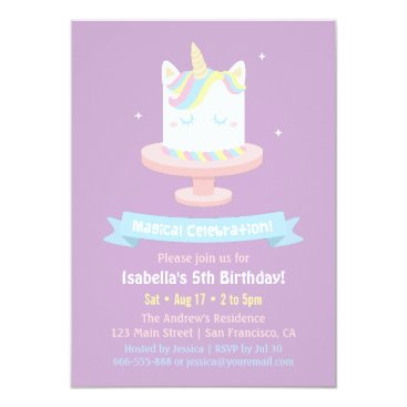 Cute Unicorn Cake Girls Birthday Party Invitations