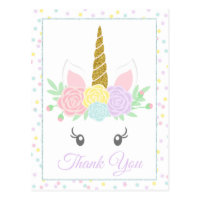 Cute Unicorn Thank You Card Postcards